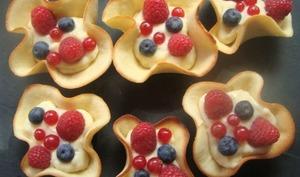 Méli-mélo de fruits et de crème pâtissière en corolles