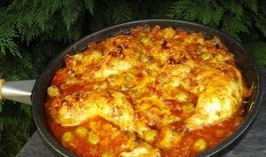 Poulet aux tomates gratiné à la poêle