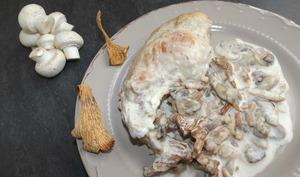 Cuisses de lapin à la crème et aux champignons