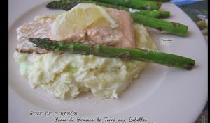 Pavé de saumon, purée aux cébettes et asperges grillées
