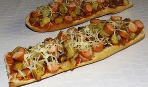 Pizza baguette strasbourgeois