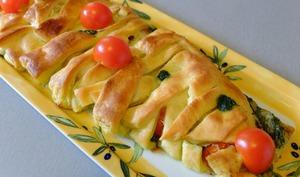 Tresse feuilletée au pesto, tomates mozzarella  – La cuisine du mercredi