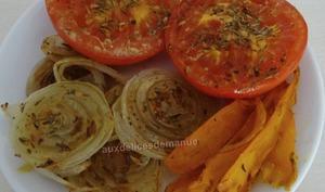Tomates, carottes et oignons moutardés, au grill-plancha