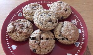 Muffin moelleux sans gluten, aux flocons d'avoine et pépites de chocolat