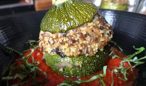 Courgettes farcies au quinoa et duxelles de champignons