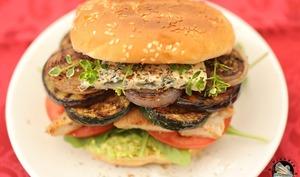 Burger poulet légumes au Saint Agur