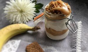 Bocal ou verrine grecque dulce de lèche banane spéculos au cookeo