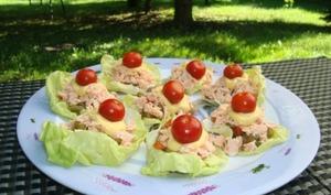 Salade de saumon et macédoine de légumes en feuilles de laitue