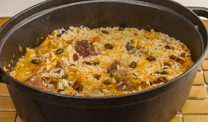 Ragoût de viande aux carottes et au riz