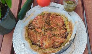 Tarte fine courgettes pesto tomates