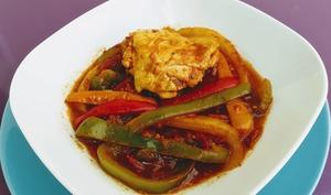 Poulet au curry et poivrons