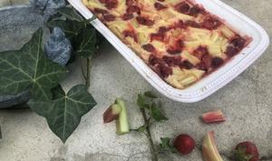 Clafoutis fraise rhubarbe coco