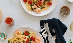 Linguine aux crevettes et salicorne