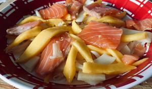 Salade de saumon à la mangue et au soja
