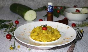 Concombres vapeur à la semoule et au curry