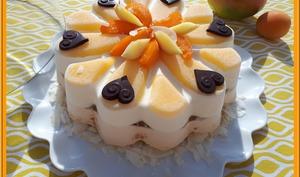Entremets coco, mangue, abricot