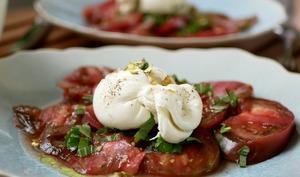 Tomates, burrata et pistaches