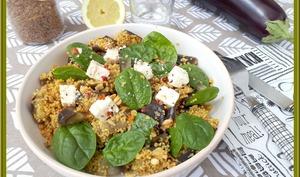 Salade d'aubergines aux céréales et saveurs orientales
