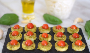 Polenta au pesto et tomate cerise