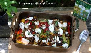 Légumes d'été rôtis et burrata
