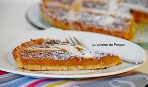 Crostata aux prunes et amandes parfumée au Patxaran, sans oeufs, sans beurre