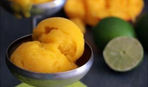 Sorbet à la mangue et citron vert - à la sorbetière