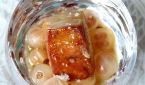 Verrine de foie gras poêlé et groseilles
