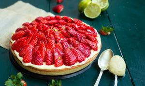 Tarte aux fraises et citron vert