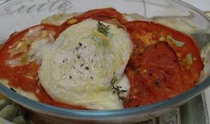 Picodon gratiné sur lit de tomate