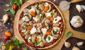 Pizza artichauts fromage de chèvre ail éléphant
