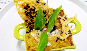 Gratin de courgettes aux fromages chèvre/emmental, à la poudre et feuilles de baobab