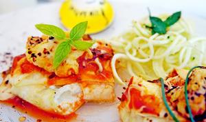 Raviolis de courgettes au chèvre avec des spaghettis de courgette