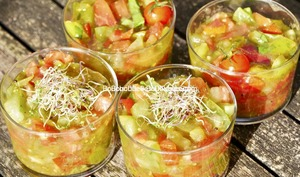 Tartare alcalin aux quatre tomates, basilic, ail, huile d'olive