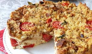 Gâteau de pain rassis tomates et mozzarella