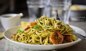 Spaghetti aux crevettes et pesto