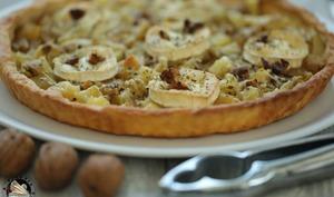 Tarte pommes de terre chèvre aux noix