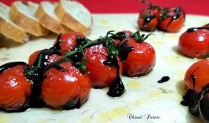 Tomates grappes confites au vinaigre balsamique pimenté