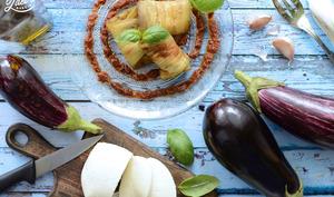 Roulades d'aubergines et mozzarella