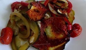 Courgette et légumes au four, au coulis de tomates
