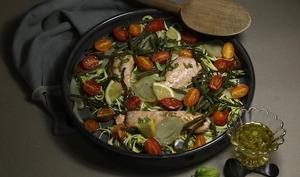 Saumon rôti et petits légumes à l'huile de basilic