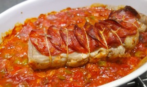 Rôti de filet mignon chorizo poivrons