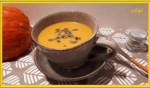 Velouté de potimarron, carottes au lait de coco