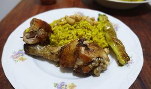 Riz au curry et poulet rôti