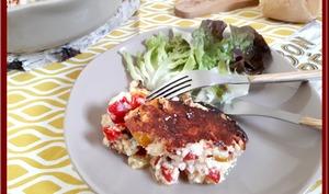 Clafoutis de courgettes, poivron et maquereau