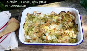 Gratin de courgettes au pesto et mozzarella