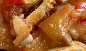 Poivrons rouges et tofu fumé, en mode axoa