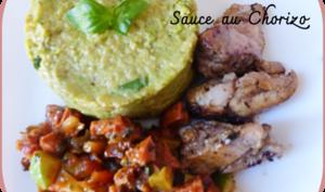 Poulet mariné aux herbes de Provence, sauce chorizo et purée de courgettes