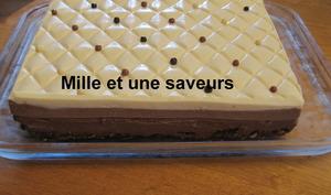 3 chocolats sur brownies noisettes et croustillant praliné