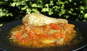 Cuisses de poulet façon basquaise