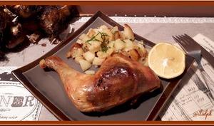 Cuisses de poulet au four à l'ail et pommes de terre